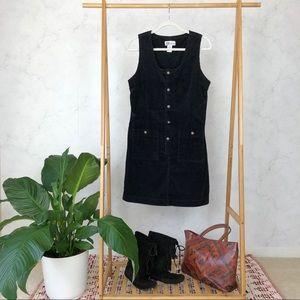 Vintage 90s Black Corduroy Button Up Jumper Dress